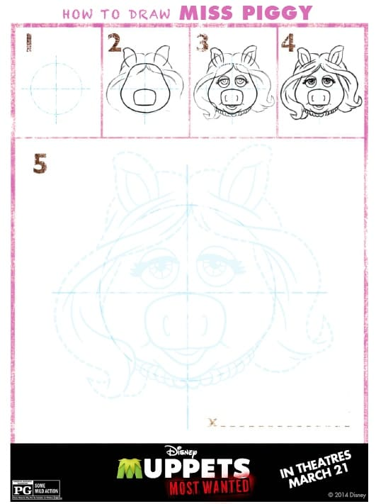 Muppets Most Wanted - How to Draw Miss Piggy