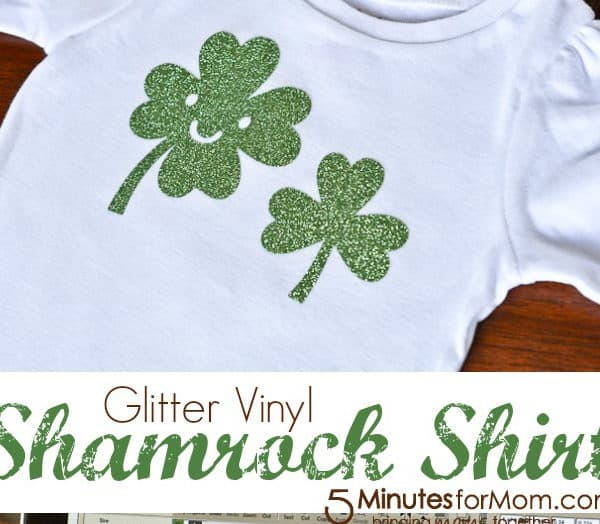 Iron-On Glitter Vinyl Shamrock Shirt