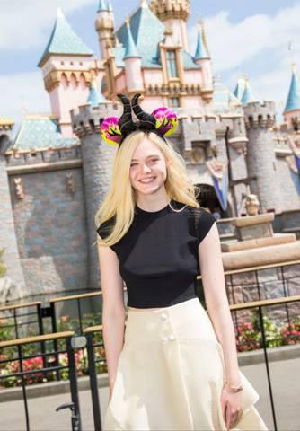 Elle Fanning of Maleficent visits Disneyland