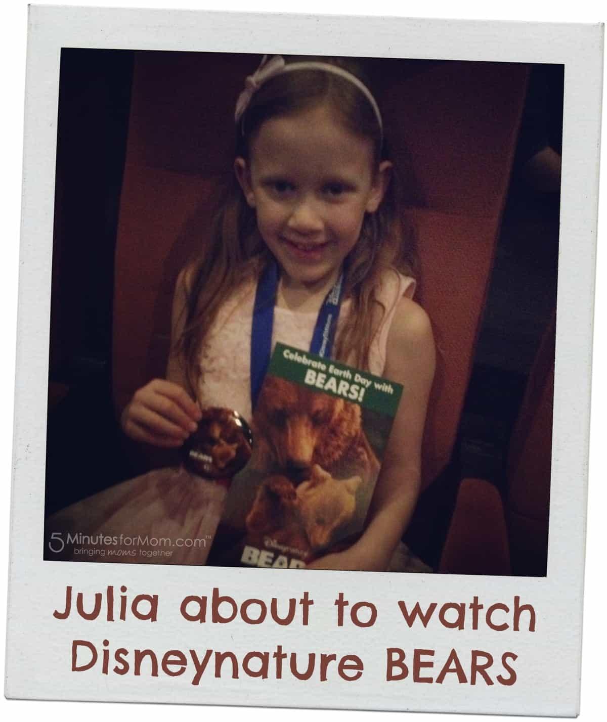Julia watching Disneynature BEARS