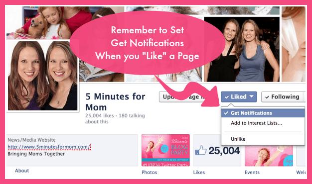 Facebook - Set Get Notifications