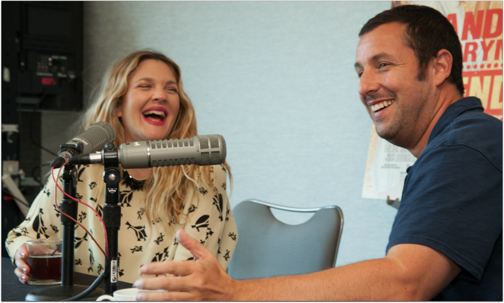 Drew Barrymore & Adam Sandler laughing
