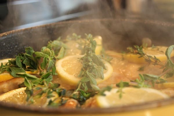 lemon chicken cooking