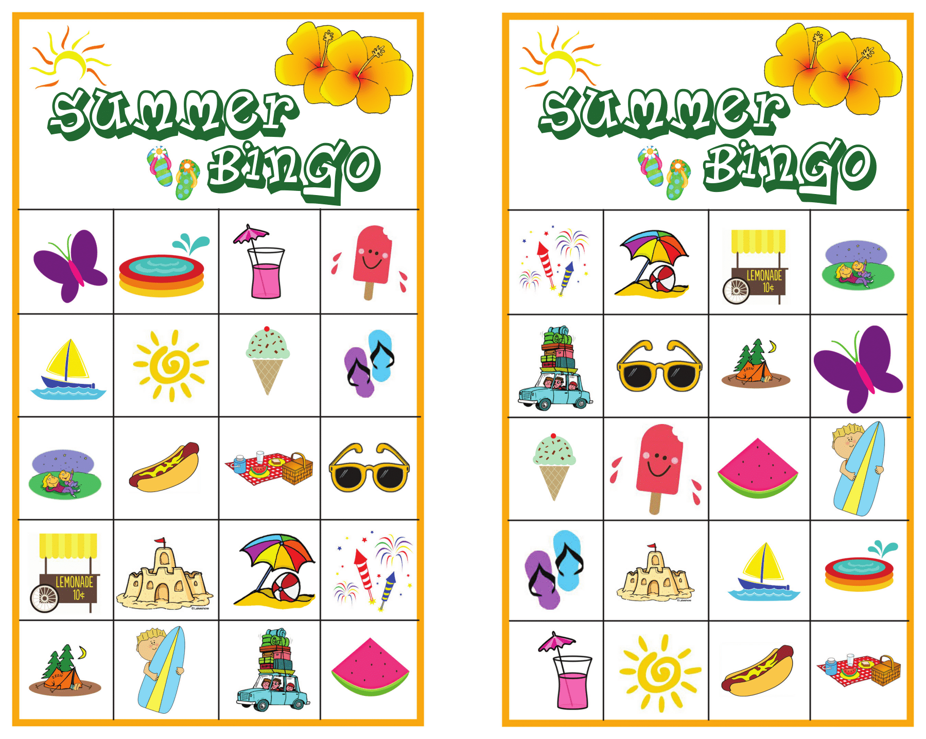 image about Cake Walk Numbers Printable named Summer months Bingo Video game with No cost Printables