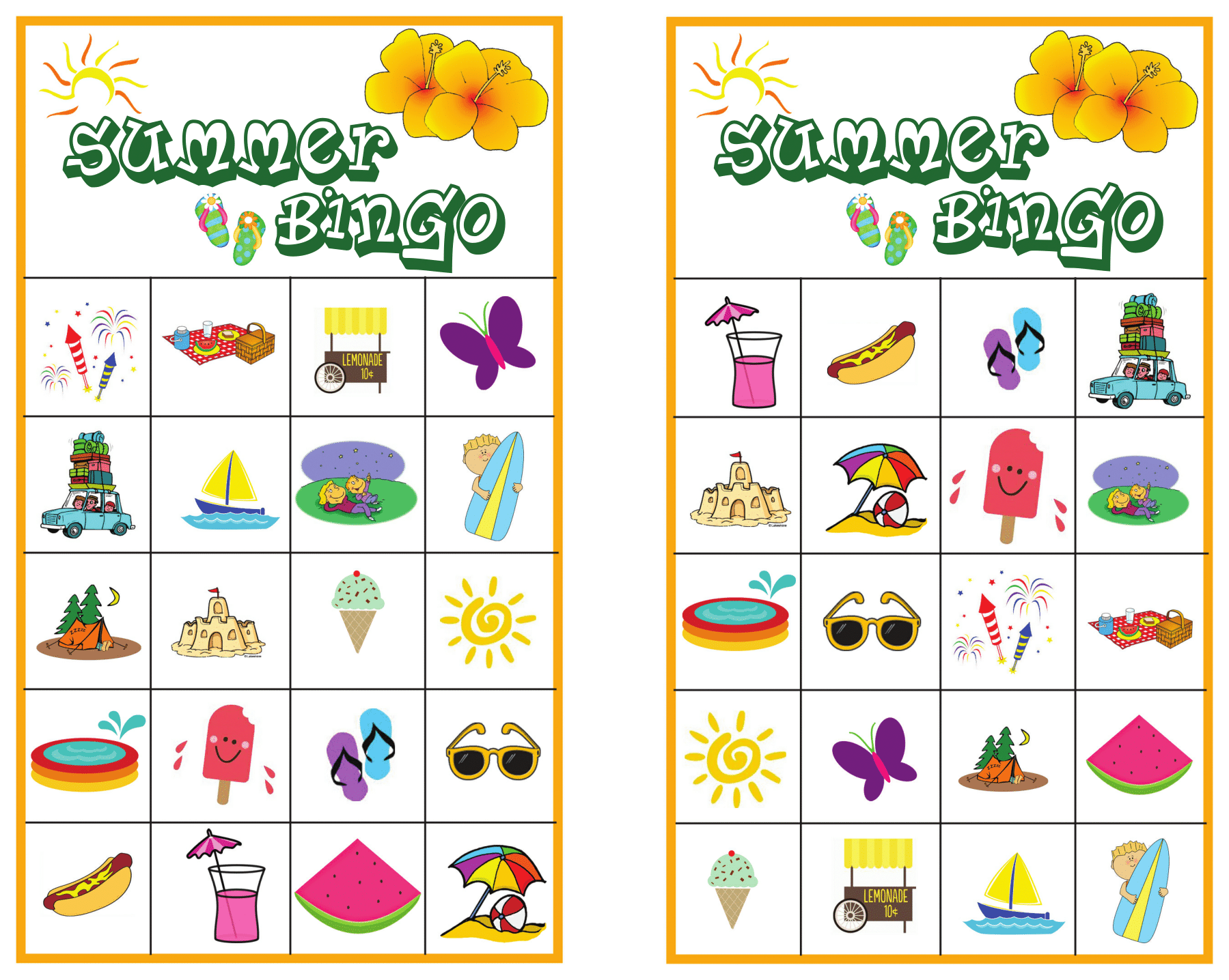 photograph about Printable Bingo for Kids called Summer months Bingo Video game with No cost Printables