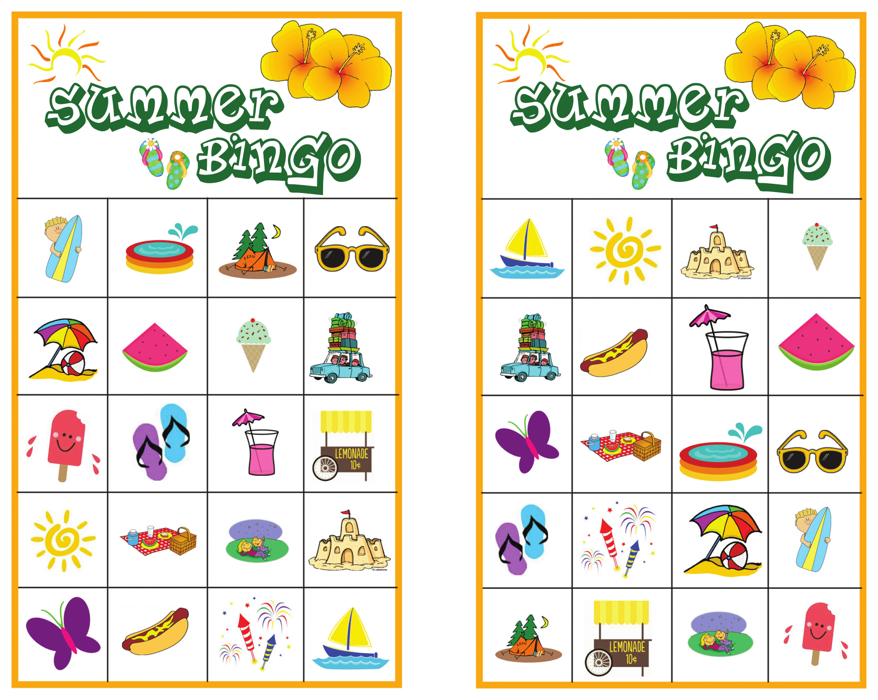 Summer Bingo Page 3 - Free Summer Printable