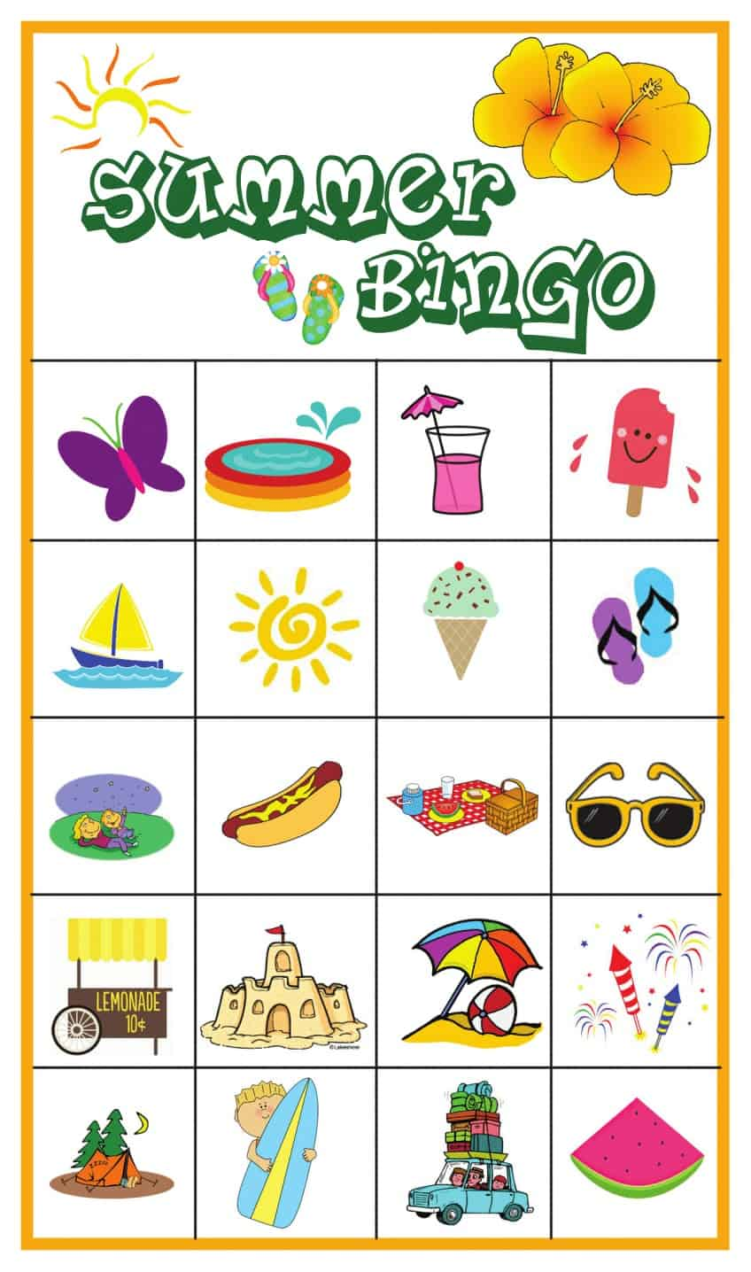 photo regarding Printable Bingo for Kids titled Summer season Bingo Sport with Cost-free Printables