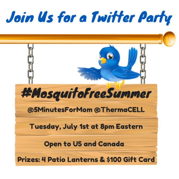 Join #MosquitoFreeSummer Twitter Party with @ThermaCELL – Prizes: 4 Patio Lanterns & $100 Gift Card