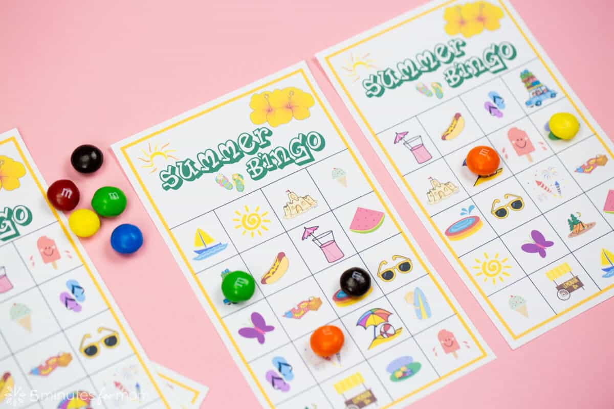 picture about Free Printable Cards for Kids known as Summertime Bingo Match with Cost-free Printables