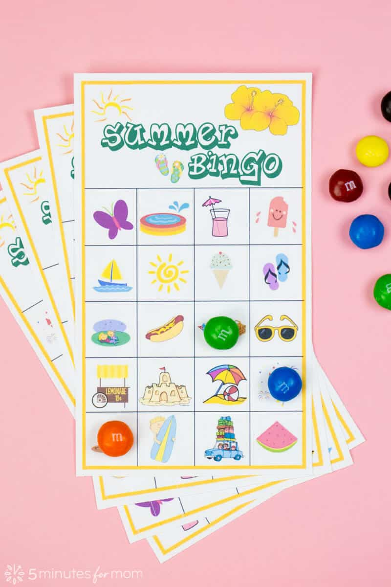 photo relating to Cake Walk Numbers Printable identified as Summer months Bingo Match with Cost-free Printables