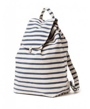 karma kiss striped canvas backpack