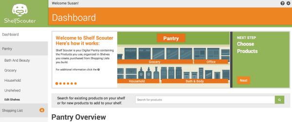 shelf scouter website dashboard