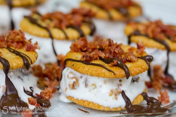 Peanut Butter and Bacon Ice Cream Sandwiches