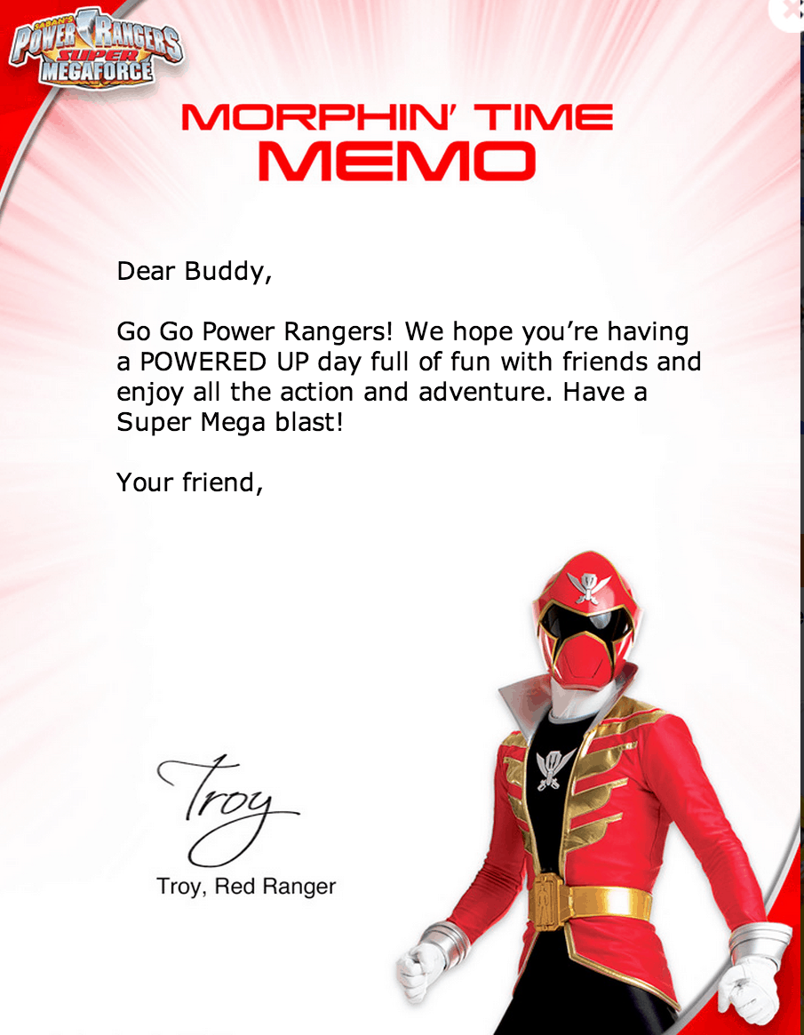 sample power ranger letter