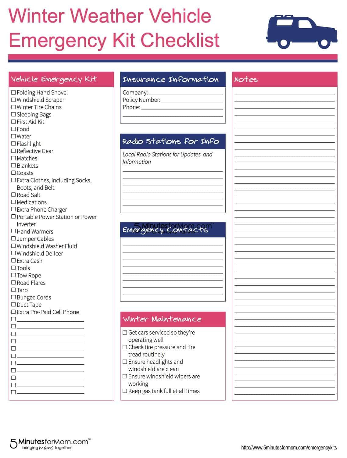 Vehicle Emergency Kit Checklist