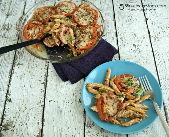 Spinach Tomato Pasta Bake / by Busy Mom's Helper for 5MinutesForMom.com #PastaBake #HealthyMeals