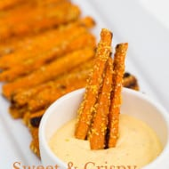 Crispy Sweet Potato Fries with Spicy Honey Mustard Dip