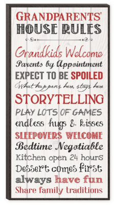 grandparents rules wooden sign