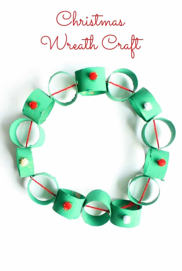 Easy Cardboard Tube Wreath Christmas Craft for Kids
