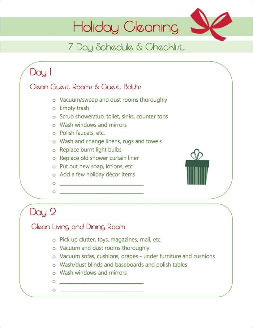 Holiday Cleaning Schedule Checklist