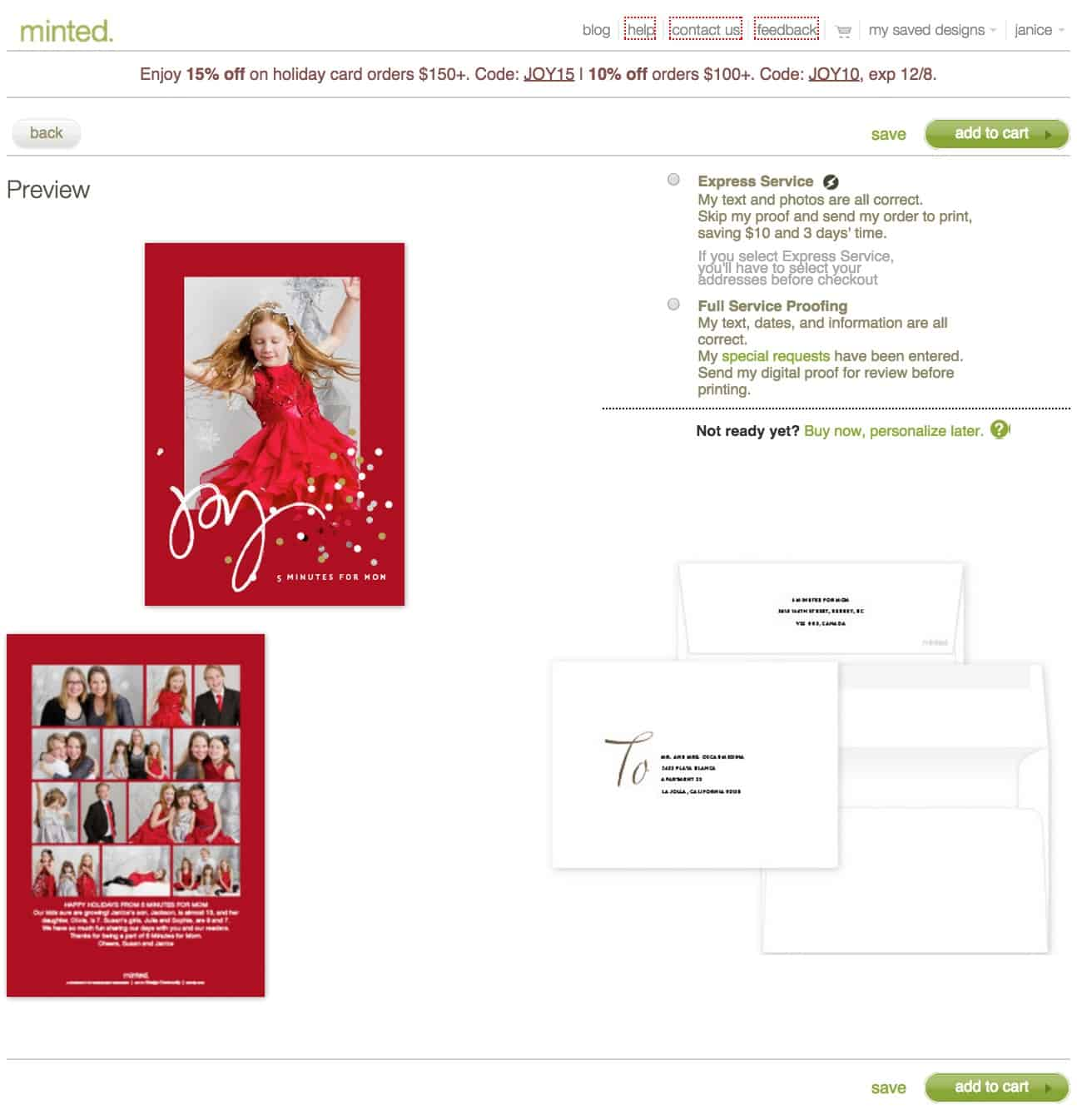 minted holiday card preview