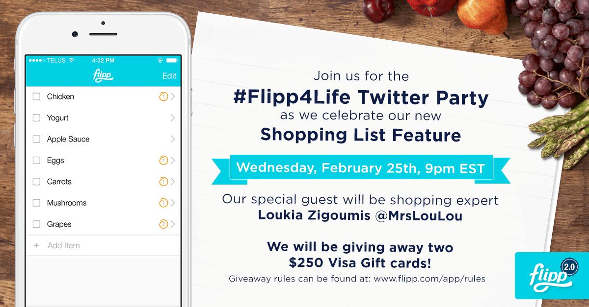 Flipp ShoppingList TwitterParty