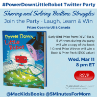 Sharing and Solving Bedtime Struggles with #PowerDownLittleRobot Twitter Party Mar 11, 8pm ET