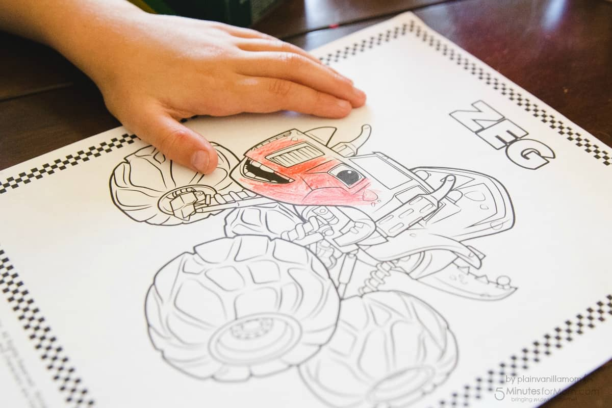 Blaze Playdate Kid Coloring Coloring Pages