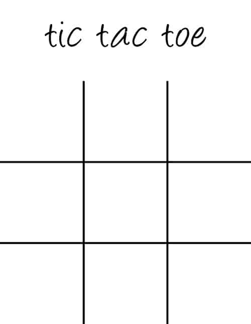 Zany image for printable tic tac toe board