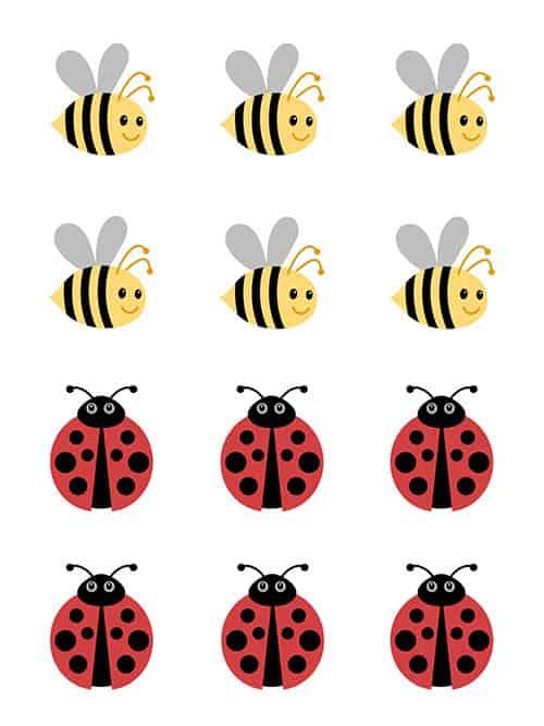 Tic Tac Toe bumblebee and ladybug icons