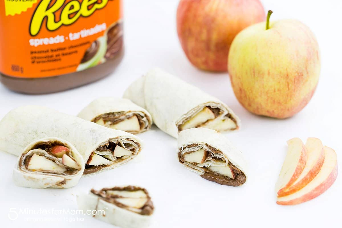 Peanut Butter Chocolate and Apple Wraps