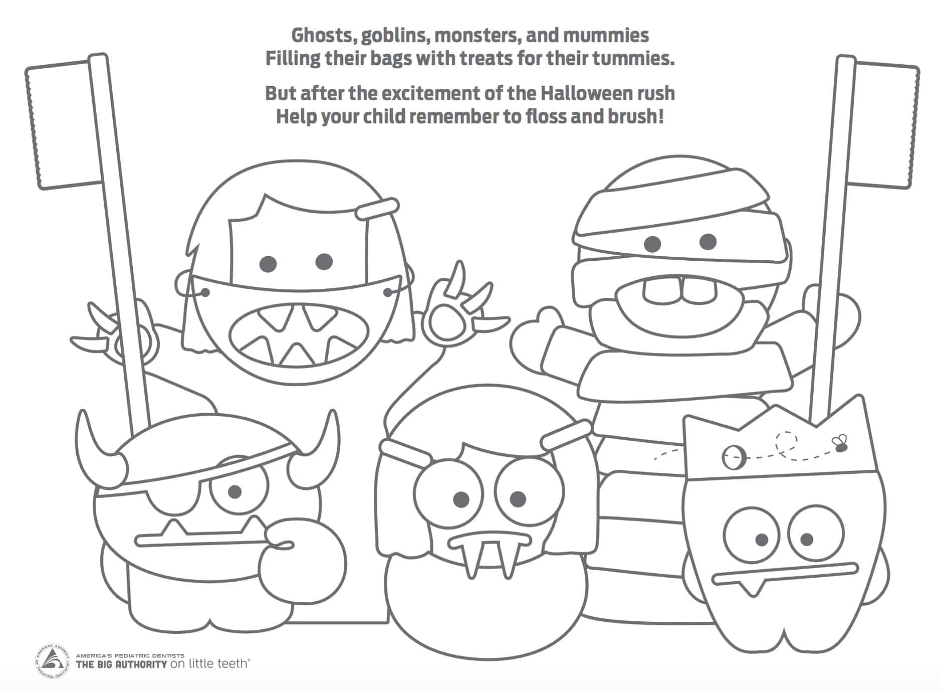 Halloween Mouth Monsters Coloring Sheet