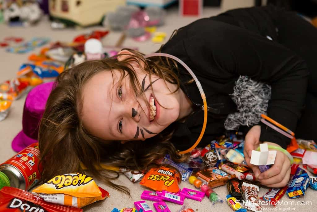 Halloween Trick or Treating Piles of Candy