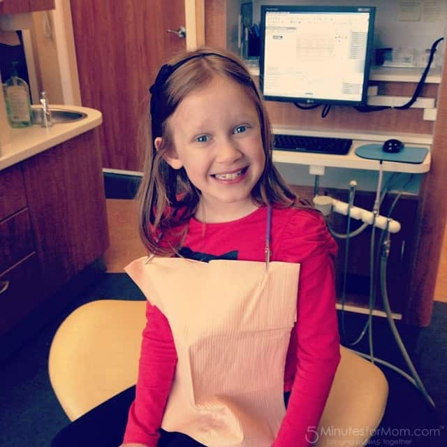 Julia is all smiles at the dentist