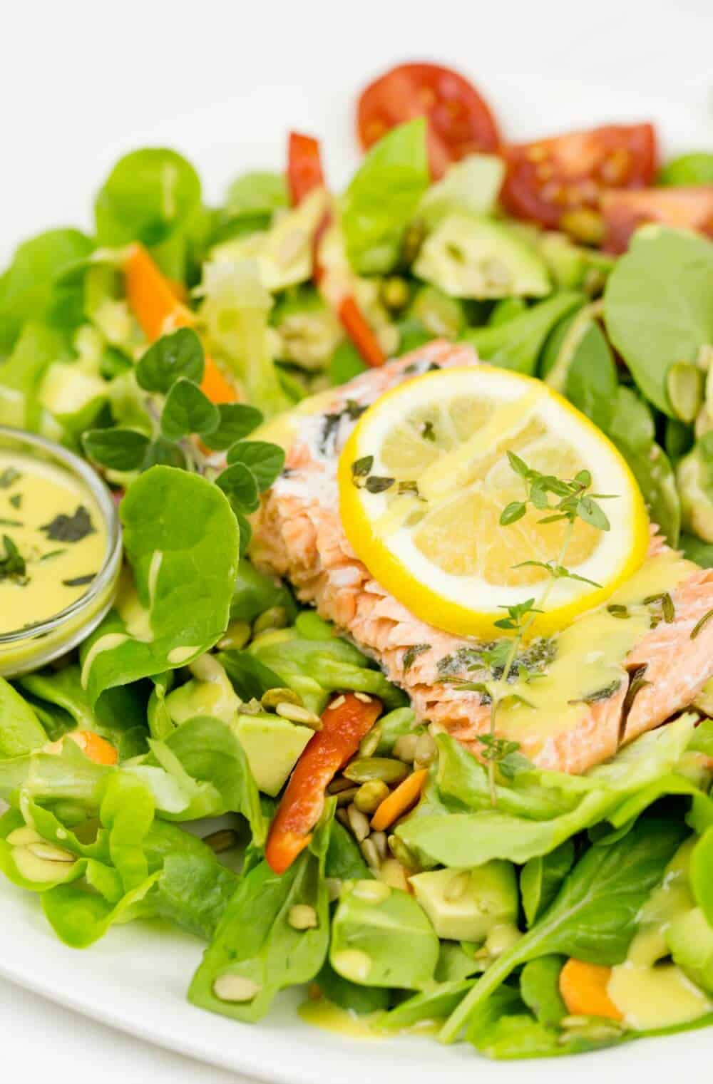 Lemon and Herb Salmon with Honey Mustard Dressing Recipe