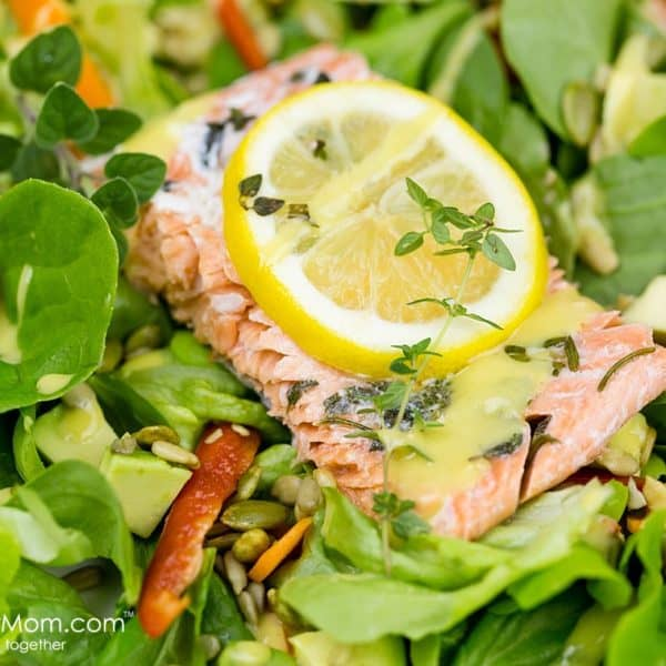 Lemon and Herb Salmon with Honey Mustard Dressing