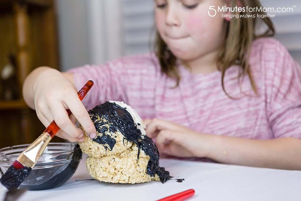 Olivia Making Penguin Rice Krispies Treat