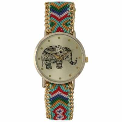 Olivia Pratt Womens Tribal Elephant Braided Band Watch