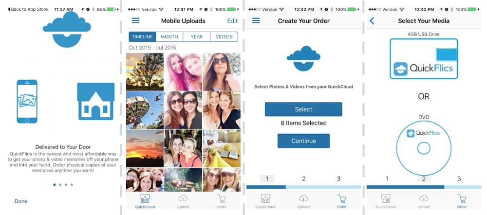 QuickFlics is the easiest and most affordable way to get your photo and video memories off your phone