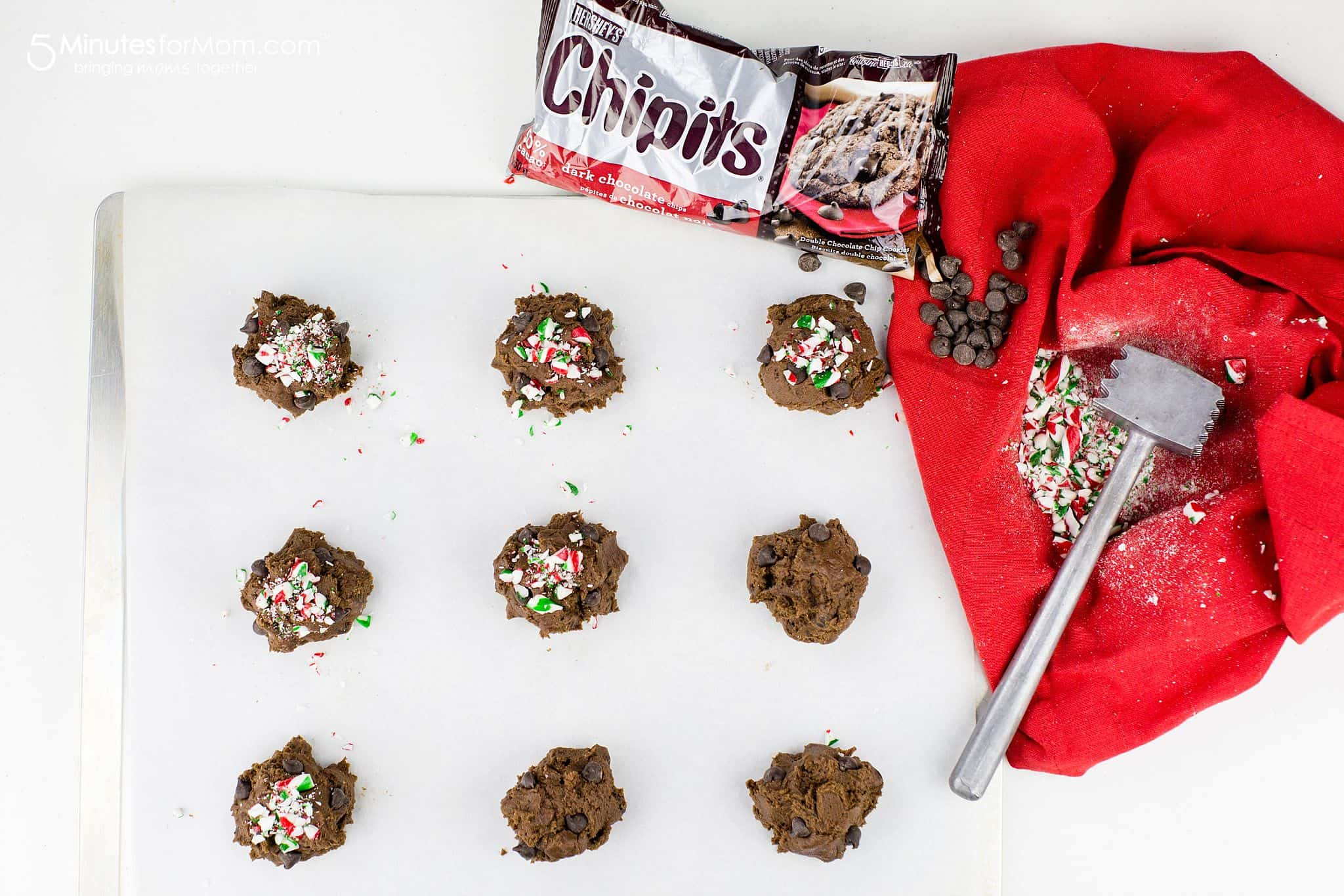 Dark Chocolate Chip Christmas Cookies