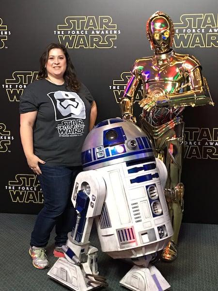 Dawn Cullo with R2-D2 and C3-PO - Star Wars Press Event - #StarWarsEventDawn Cullo with R2-D2 and C3-PO - Star Wars Press Event - #StarWarsEvent