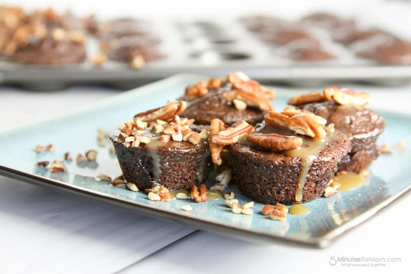 Chocolate fudge brownies, caramel, and pecans are the stars of this show. These brownies are ooey gooey and sticky!