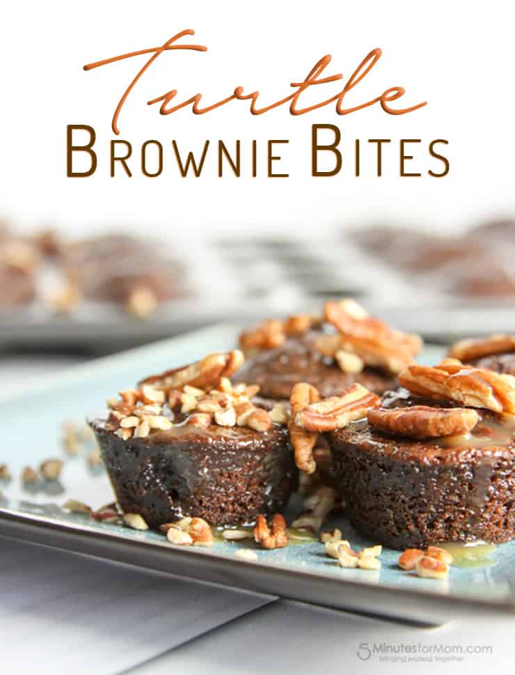 These Turtle Brownie Bites are definitely not healthy eating friendly but they sure are scrumptious!