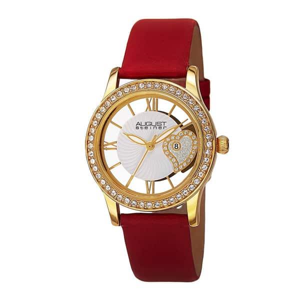 August Steiner Women's Japanese Quartz Heart Design Satin Strap Watch