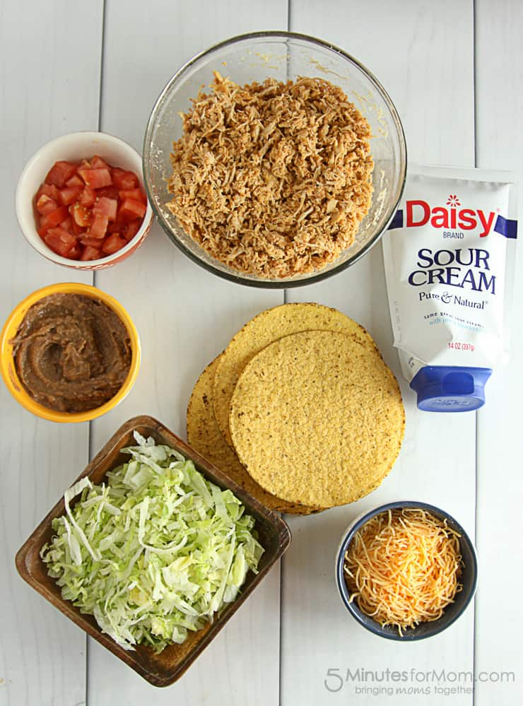 Easy Shredded Chicken Tostadas, a family friendly, and delicious dinner.