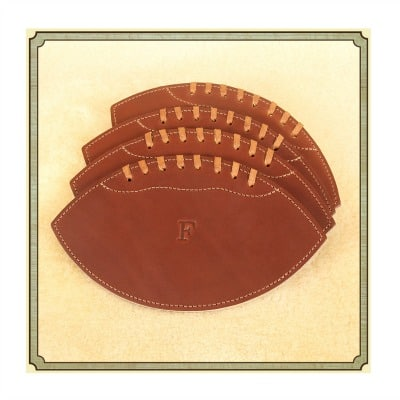 Leather Football Coasters