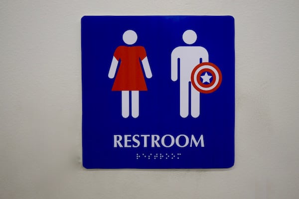 Peggy Carter and Captain America Restroom SignPeggy Carter and Captain America Restroom Sign