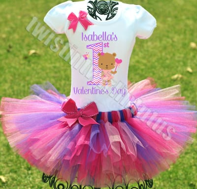 Girls First Valentine's tutu outfit