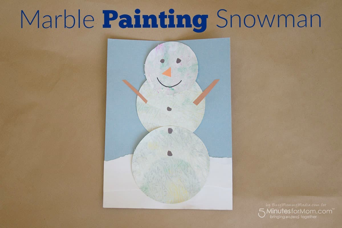 Marble Painting Snowman Fun Winter Art Project For Kids