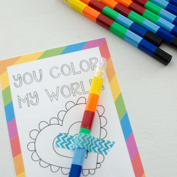 """You Color My World"" Free Printable Valentines"